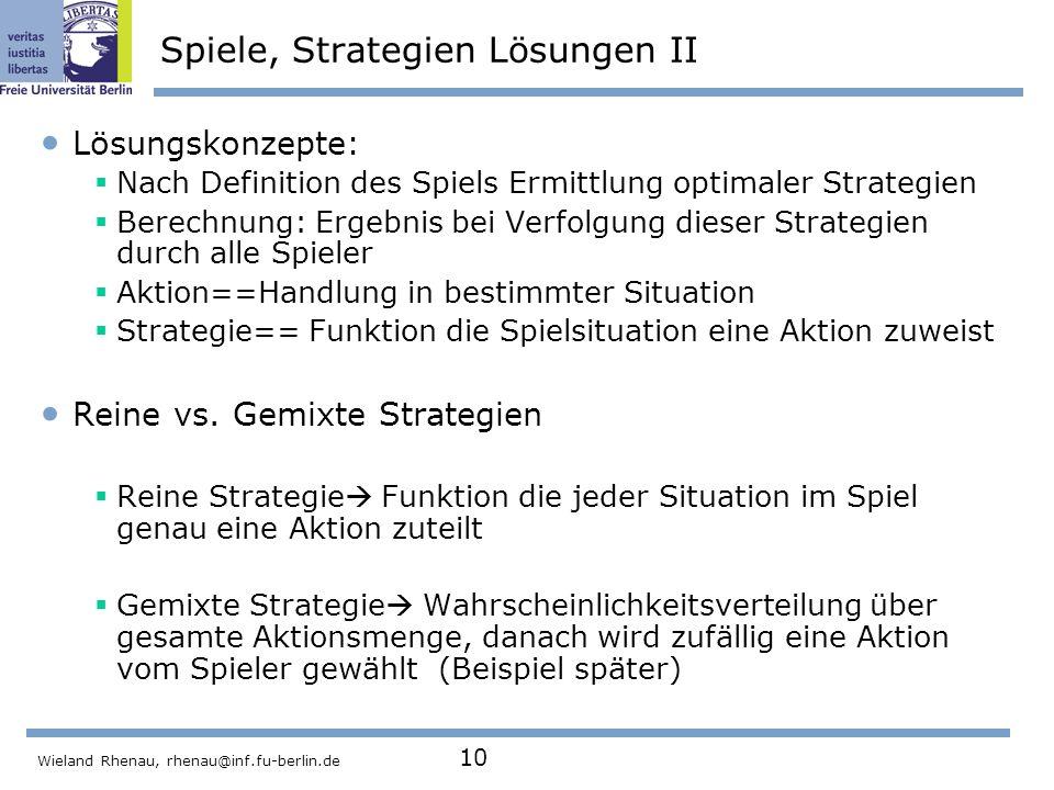 Spiele, Strategien Lösungen II