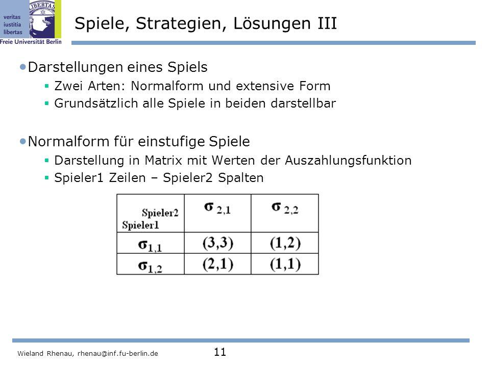 Spiele, Strategien, Lösungen III
