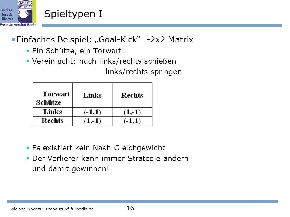 """Spieltypen I Einfaches Beispiel: """"Goal-Kick -2x2 Matrix"""