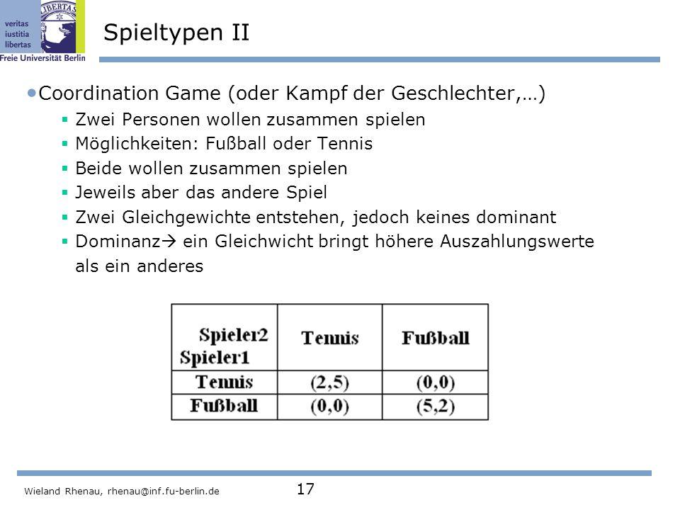 Spieltypen II Coordination Game (oder Kampf der Geschlechter,…)