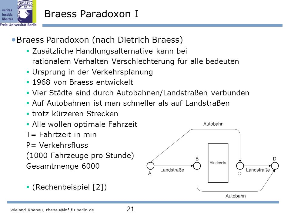 Braess Paradoxon I Braess Paradoxon (nach Dietrich Braess)