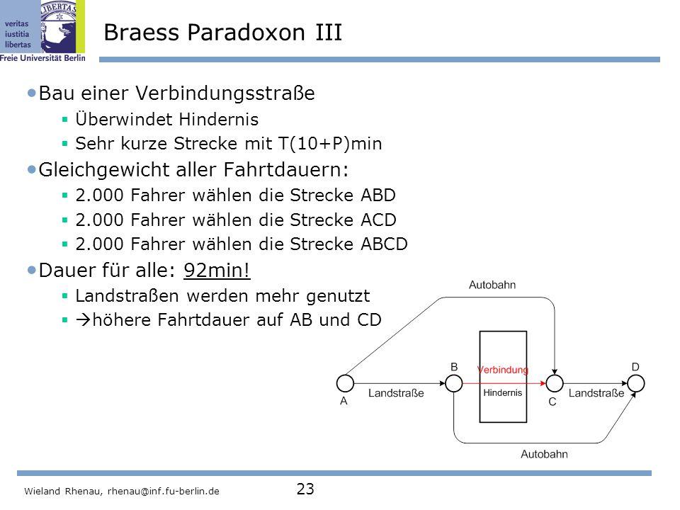 Braess Paradoxon III Bau einer Verbindungsstraße