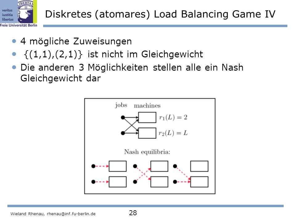 Diskretes (atomares) Load Balancing Game IV