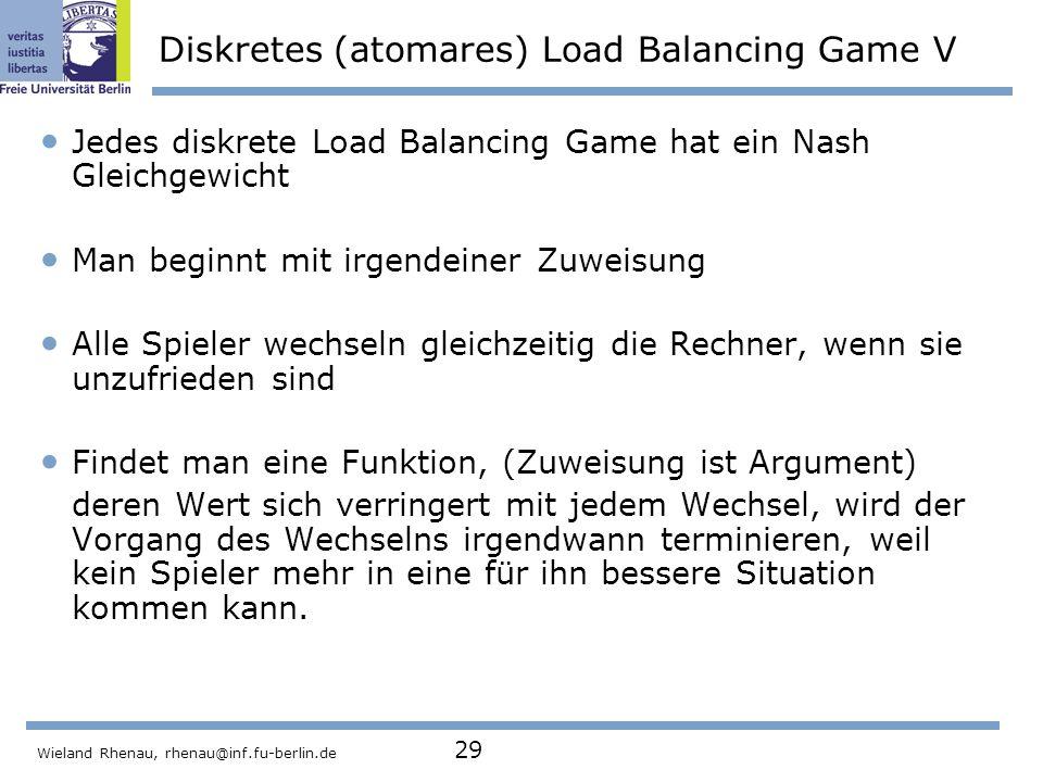 Diskretes (atomares) Load Balancing Game V