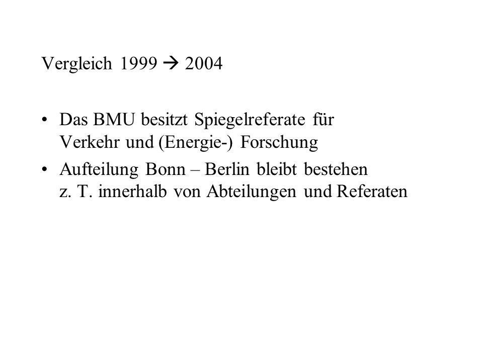Vergleich 1999  2004 Das BMU besitzt Spiegelreferate für Verkehr und (Energie-) Forschung.