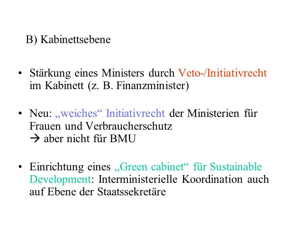 B) Kabinettsebene Stärkung eines Ministers durch Veto-/Initiativrecht im Kabinett (z. B. Finanzminister)