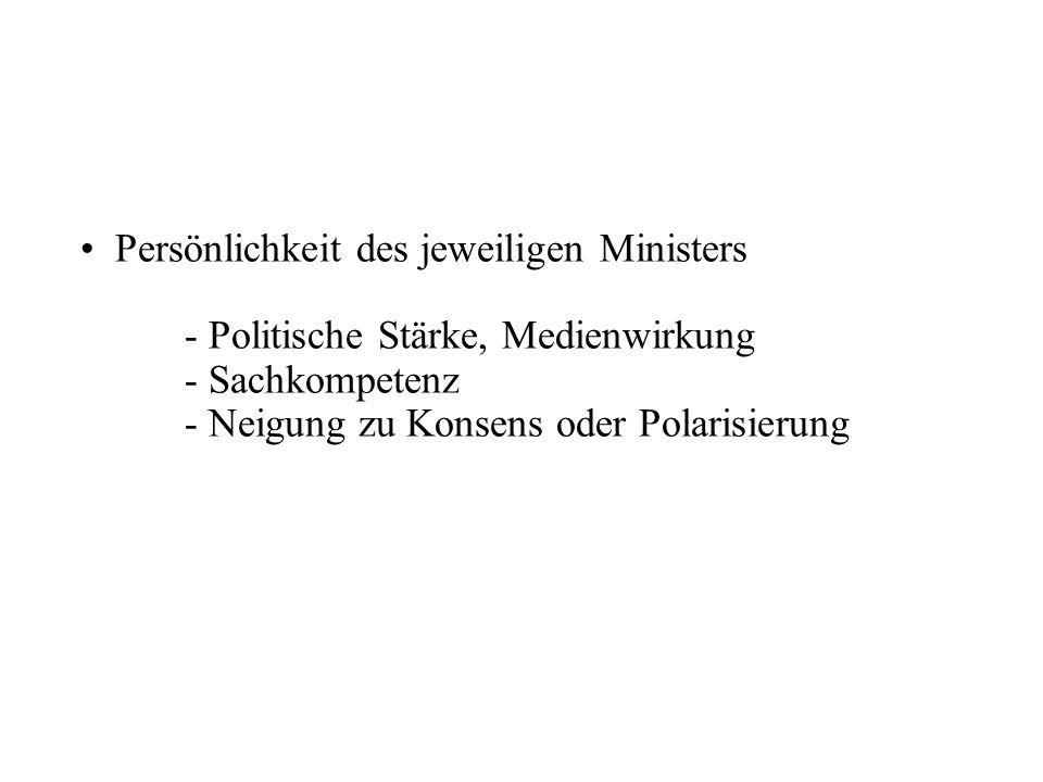 Persönlichkeit des jeweiligen Ministers