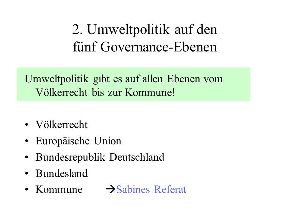 2. Umweltpolitik auf den fünf Governance-Ebenen