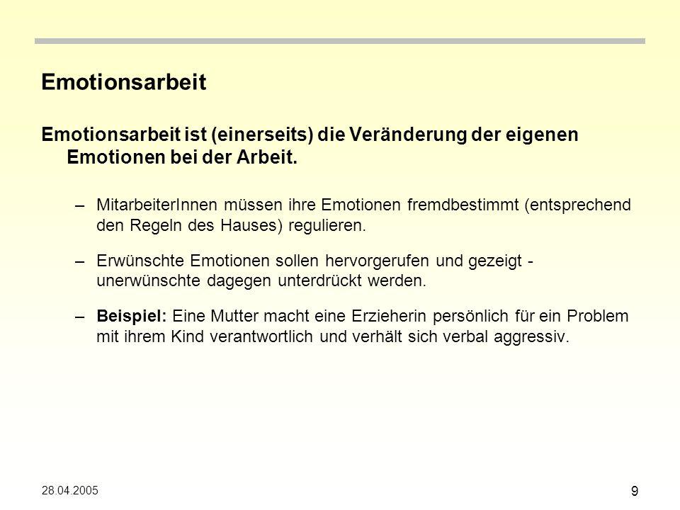 Emotionsarbeit Emotionsarbeit ist (einerseits) die Veränderung der eigenen Emotionen bei der Arbeit.
