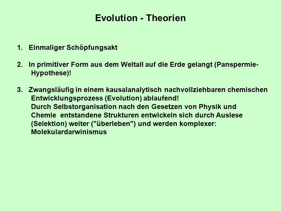 Evolution - Theorien Einmaliger Schöpfungsakt