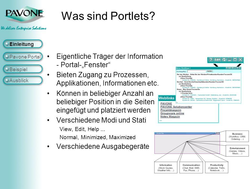 """Was sind Portlets Einleitung. Eigentliche Träger der Information - Portal-""""Fenster Bieten Zugang zu Prozessen, Applikationen, Informationen etc."""