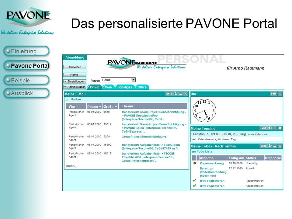 Das personalisierte PAVONE Portal