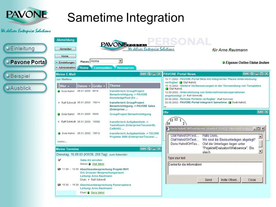 Sametime Integration Einleitung Pavone Portal Beispiel Ausblick