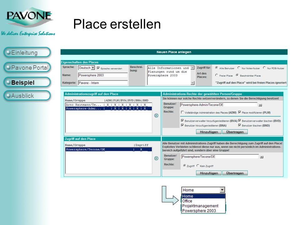 Place erstellen Einleitung Pavone Portal Beispiel Ausblick