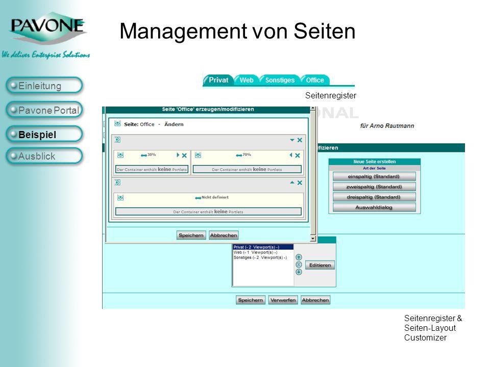Management von Seiten Einleitung Pavone Portal Beispiel Ausblick