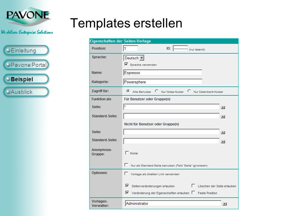 Templates erstellen Einleitung Pavone Portal Beispiel Ausblick
