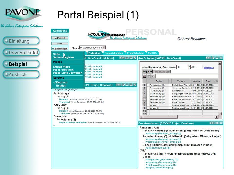 Portal Beispiel (1) Einleitung Pavone Portal Beispiel Ausblick