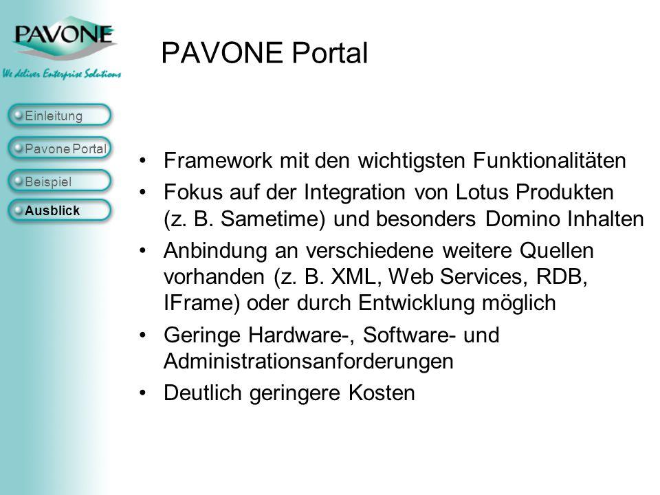 PAVONE Portal Framework mit den wichtigsten Funktionalitäten