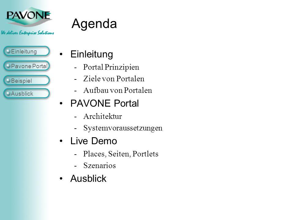 Agenda Einleitung PAVONE Portal Live Demo Ausblick Portal Prinzipien