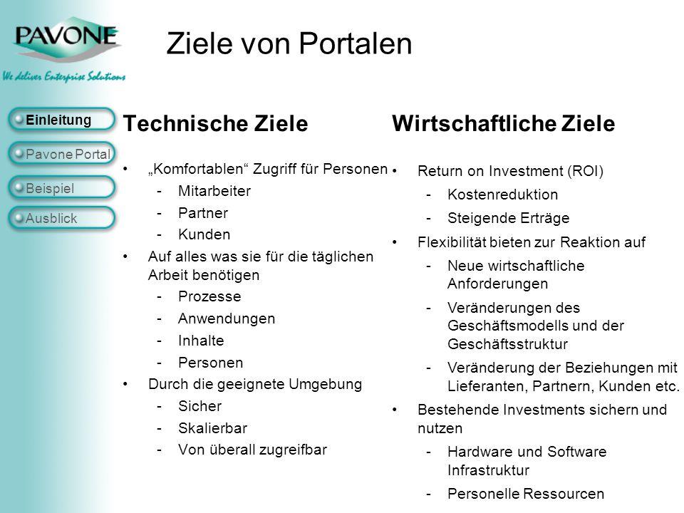 Ziele von Portalen Technische Ziele Wirtschaftliche Ziele