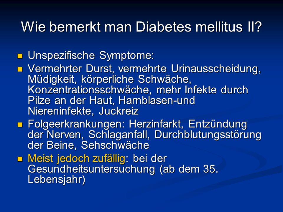 Wie bemerkt man Diabetes mellitus II