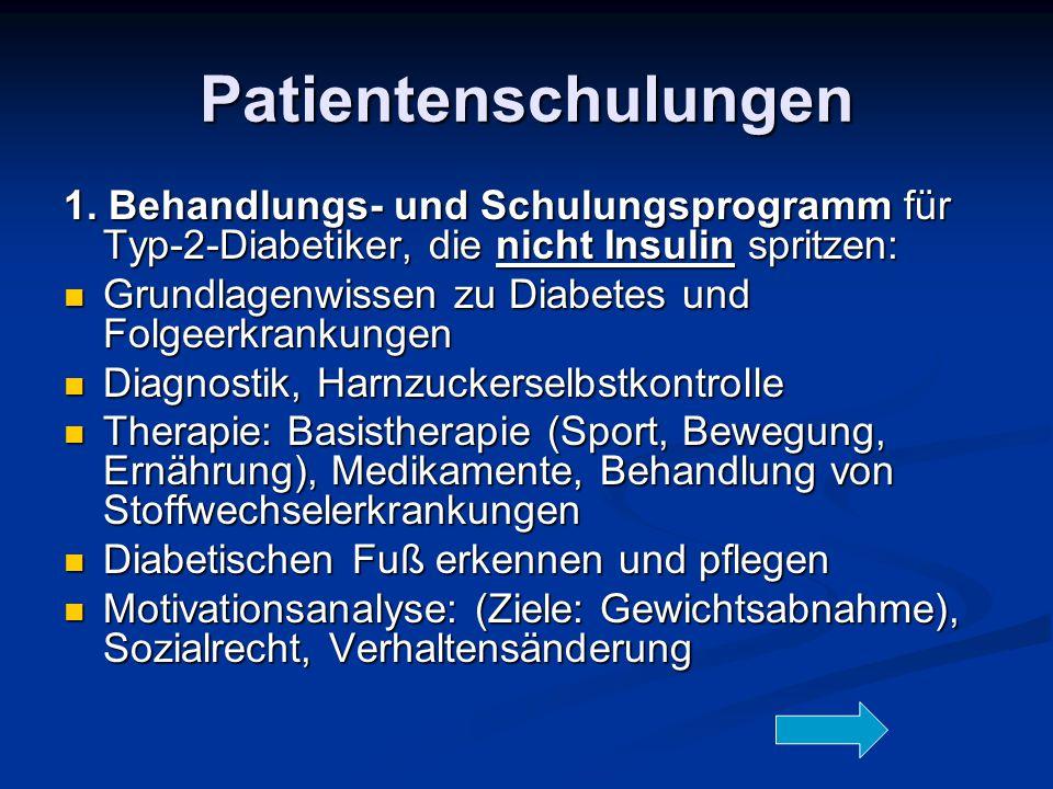 Patientenschulungen 1. Behandlungs- und Schulungsprogramm für Typ-2-Diabetiker, die nicht Insulin spritzen: