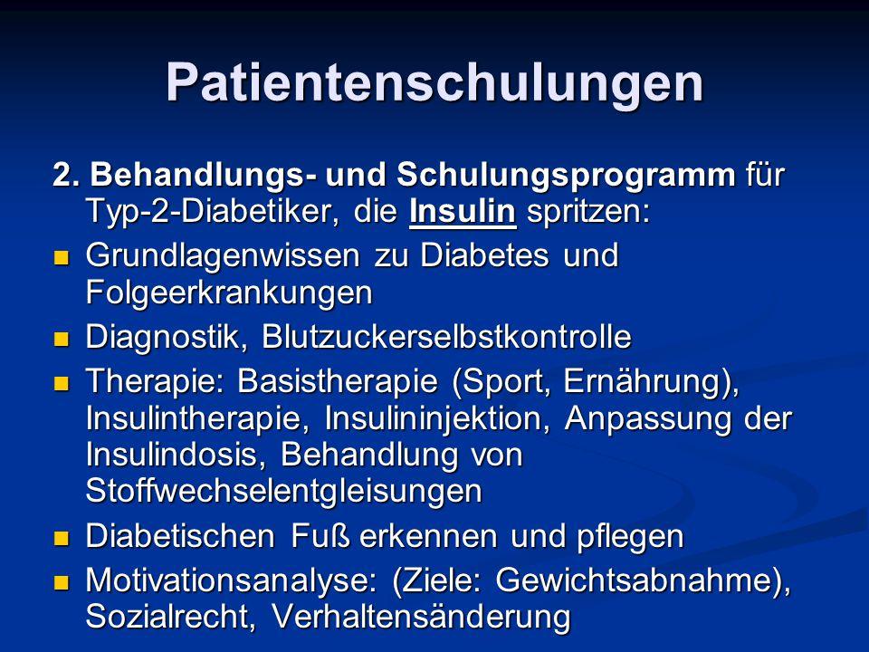 Patientenschulungen 2. Behandlungs- und Schulungsprogramm für Typ-2-Diabetiker, die Insulin spritzen: