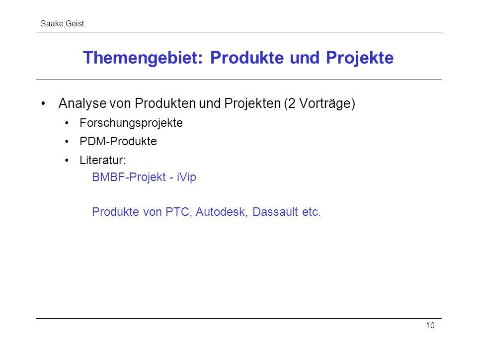 Themengebiet: Produkte und Projekte