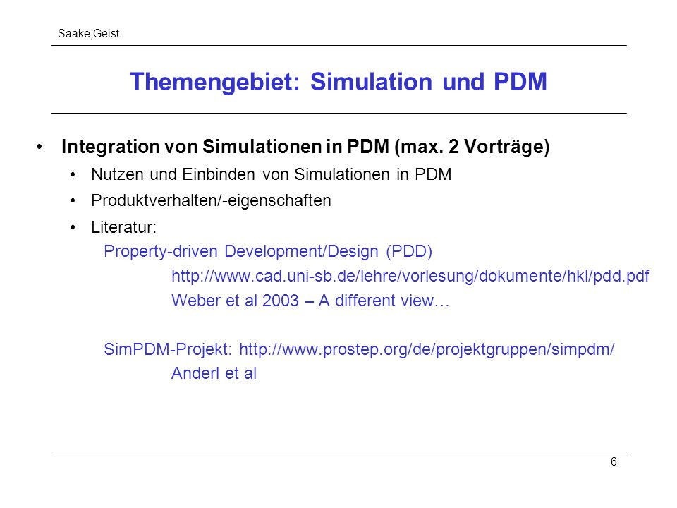 Themengebiet: Simulation und PDM