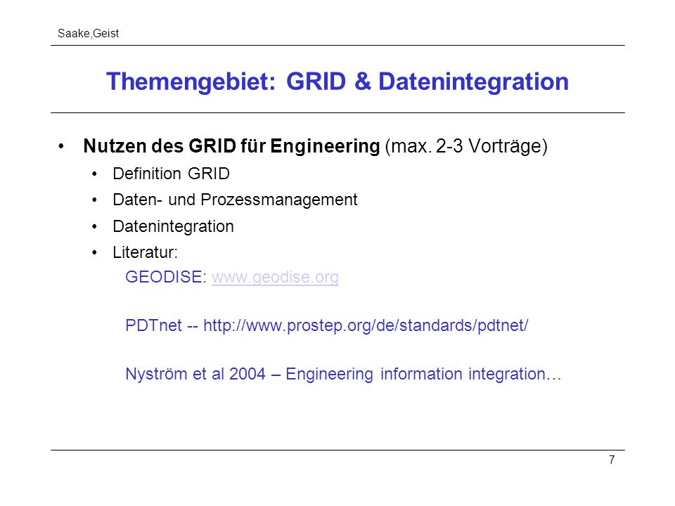 Themengebiet: GRID & Datenintegration