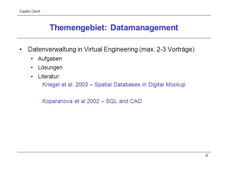 Themengebiet: Datamanagement