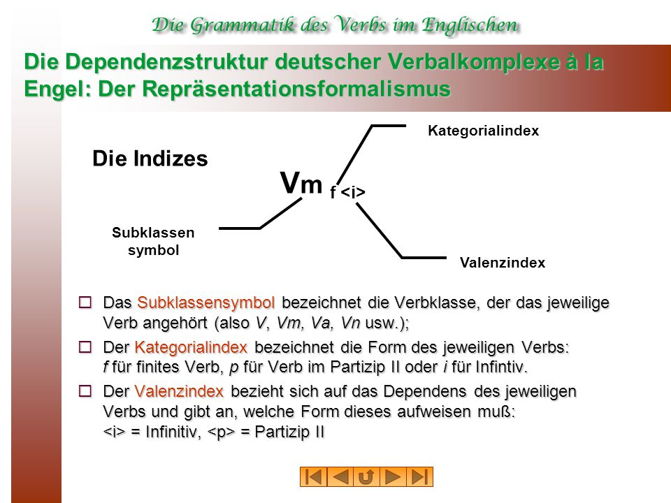 Die Dependenzstruktur deutscher Verbalkomplexe à la Engel: Der Repräsentationsformalismus