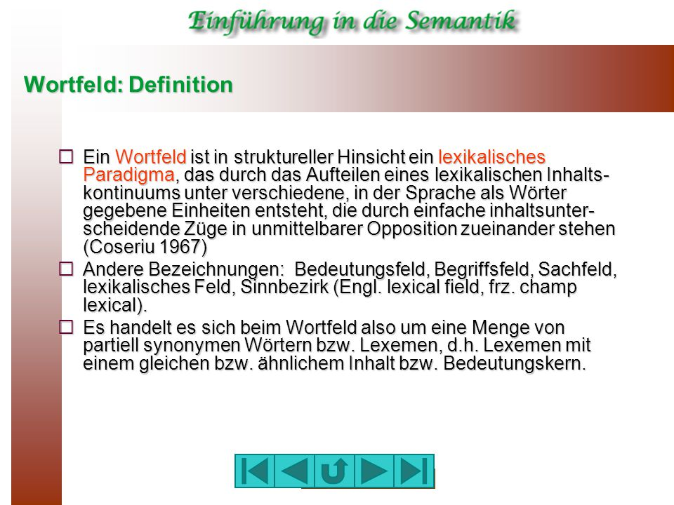 Wortfeld: Definition