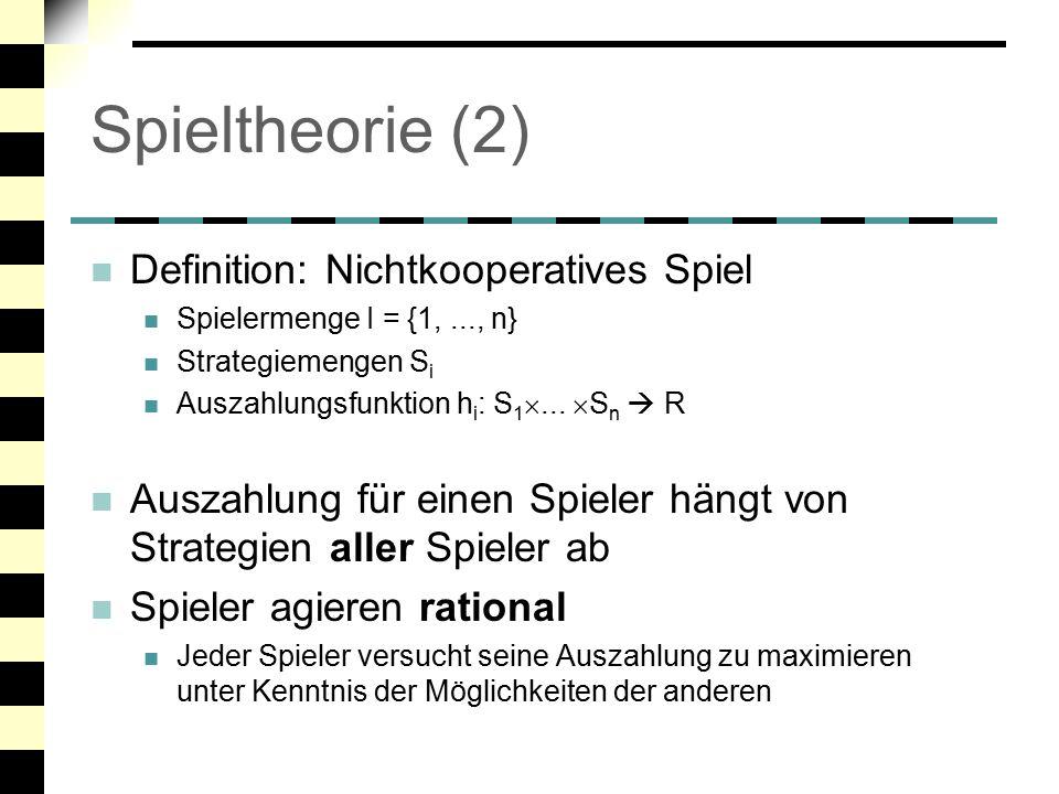 Spieltheorie (2) Definition: Nichtkooperatives Spiel