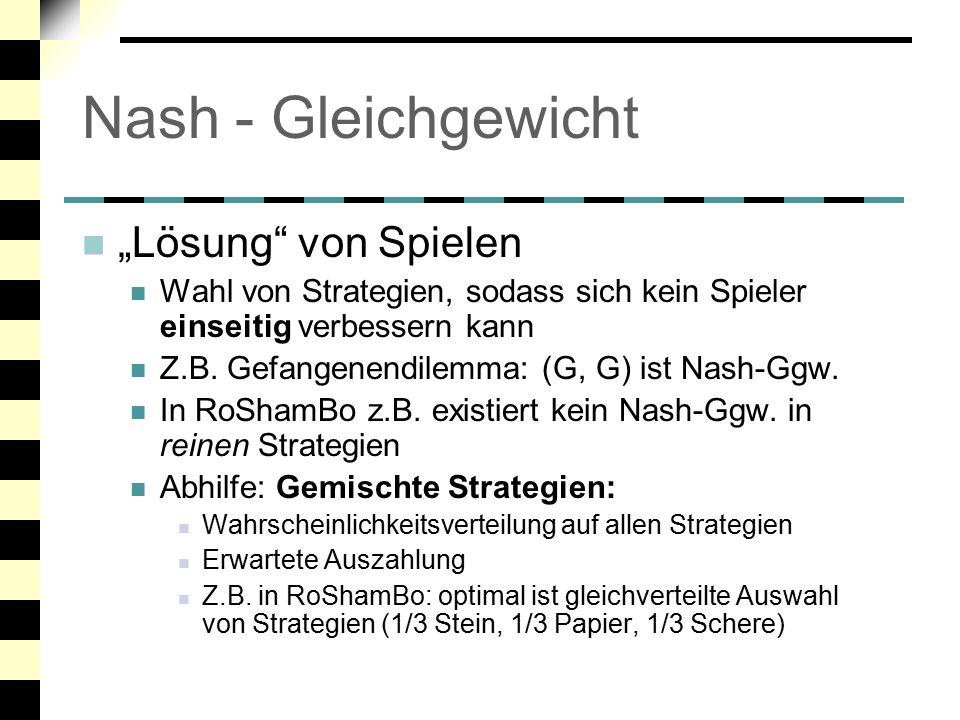 """Nash - Gleichgewicht """"Lösung von Spielen"""