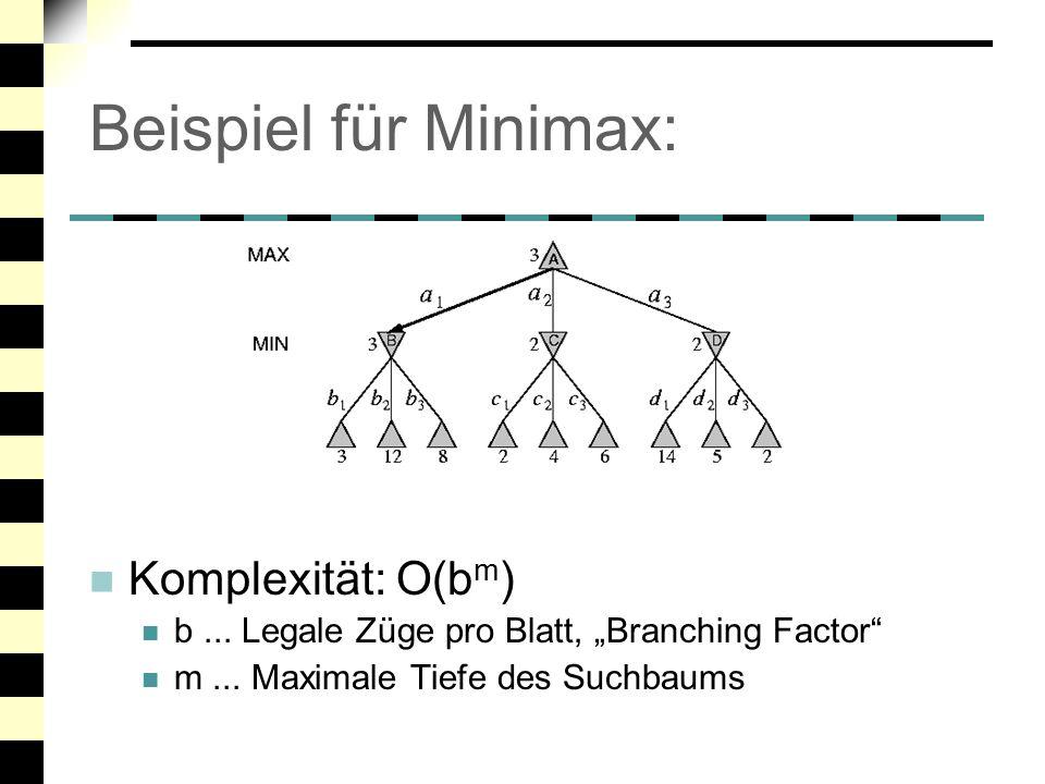 Beispiel für Minimax: Komplexität: O(bm)