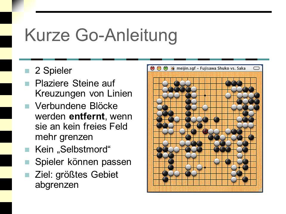 Kurze Go-Anleitung 2 Spieler Plaziere Steine auf Kreuzungen von Linien