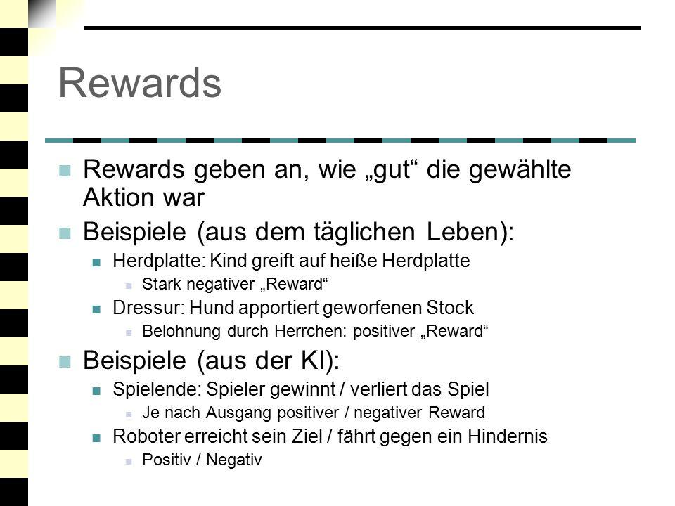 """Rewards Rewards geben an, wie """"gut die gewählte Aktion war"""