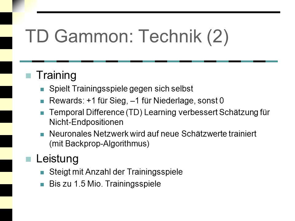 TD Gammon: Technik (2) Training Leistung
