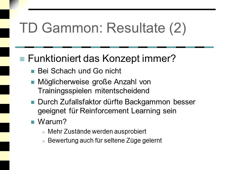 TD Gammon: Resultate (2)