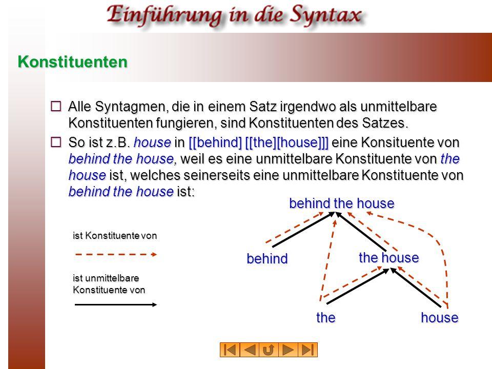 Konstituenten Alle Syntagmen, die in einem Satz irgendwo als unmittelbare Konstituenten fungieren, sind Konstituenten des Satzes.