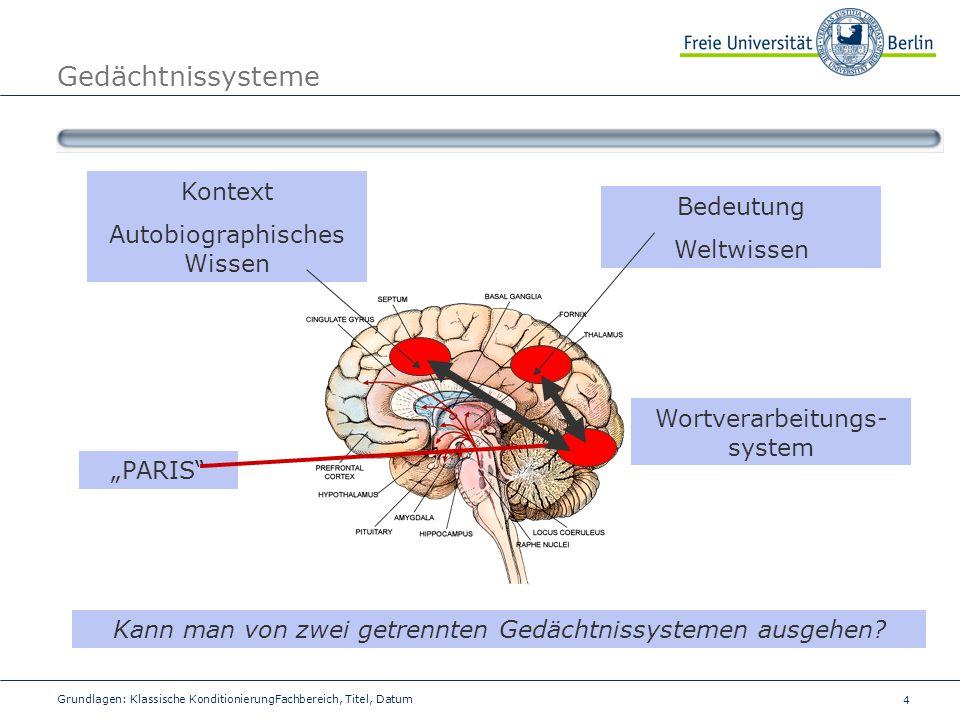 Gedächtnissysteme Kontext Autobiographisches Wissen Bedeutung