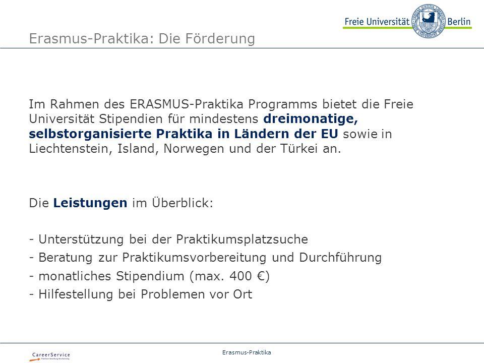 Erasmus-Praktika: Die Förderung