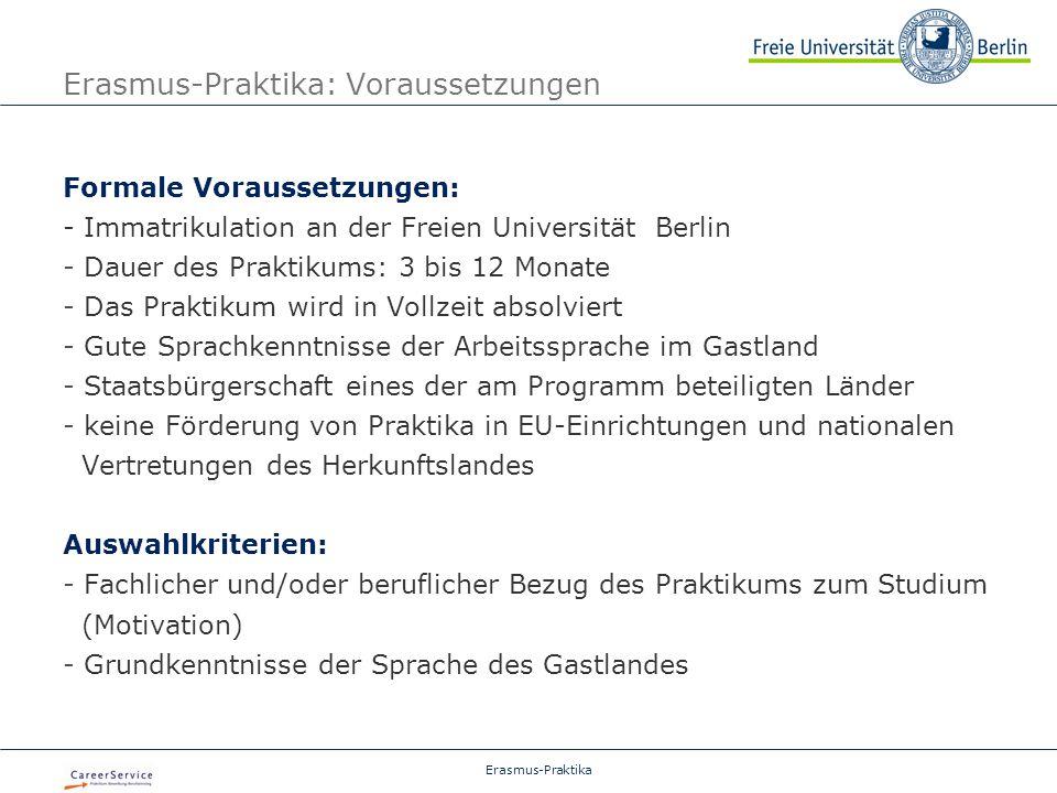 Erasmus-Praktika: Voraussetzungen