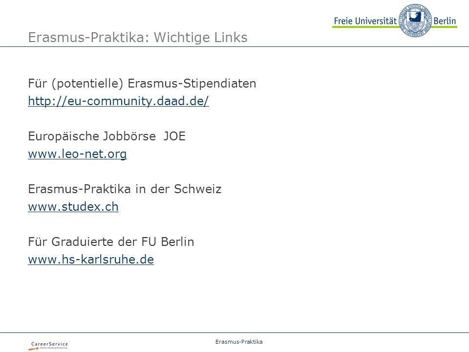 Erasmus-Praktika: Wichtige Links