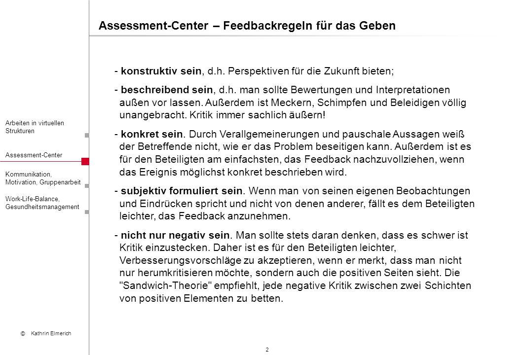 Assessment-Center – Feedbackregeln für das Geben