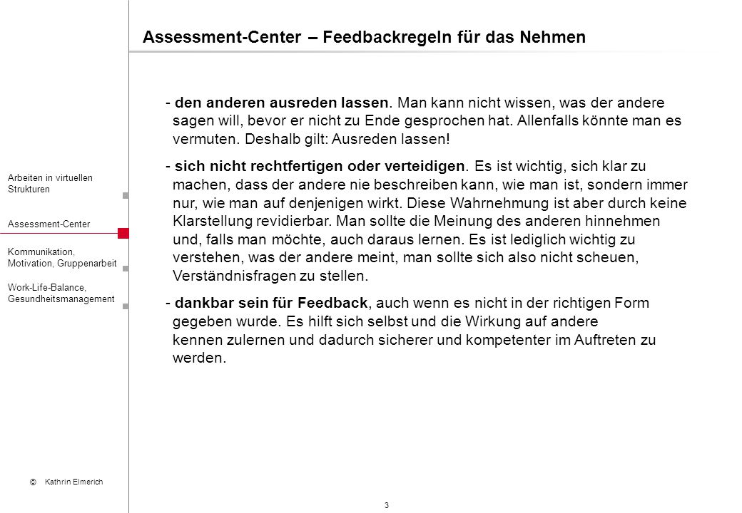 Assessment-Center – Feedbackregeln für das Nehmen