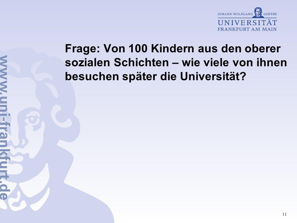 Frage: Von 100 Kindern aus den oberer sozialen Schichten – wie viele von ihnen besuchen später die Universität