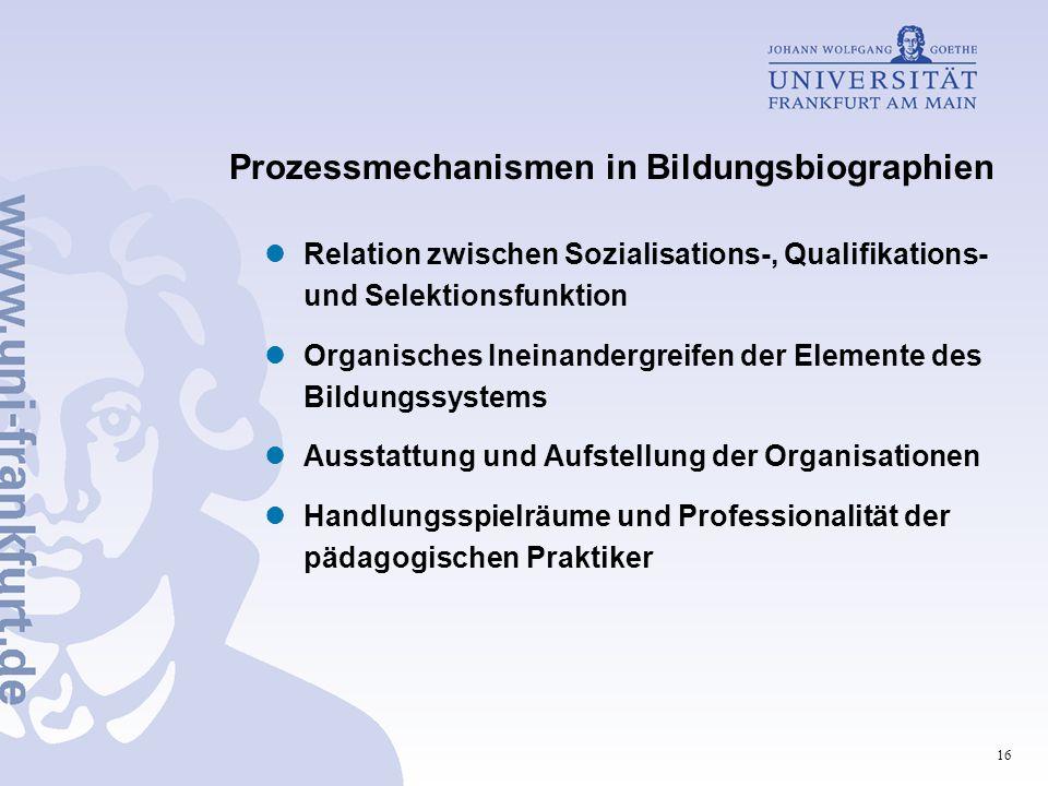 Prozessmechanismen in Bildungsbiographien