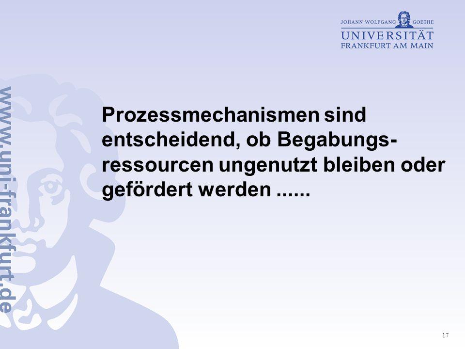 Prozessmechanismen sind entscheidend, ob Begabungs-ressourcen ungenutzt bleiben oder gefördert werden ......